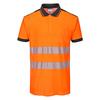 Koszulka Polo ostrzegawcza PW3 PORTWEST T180 - Pomarańcz/Czarny