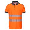 Koszulka Polo ostrzegawcza PW3 PORTWEST T180 - Pomarańcz/Granat