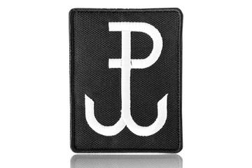 naszywka velcro Polska Walcząca 7 x 9 cm, czarna