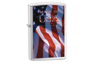 Zapalniczka ZIPPO Made in USA Flag, Brushed Chrome